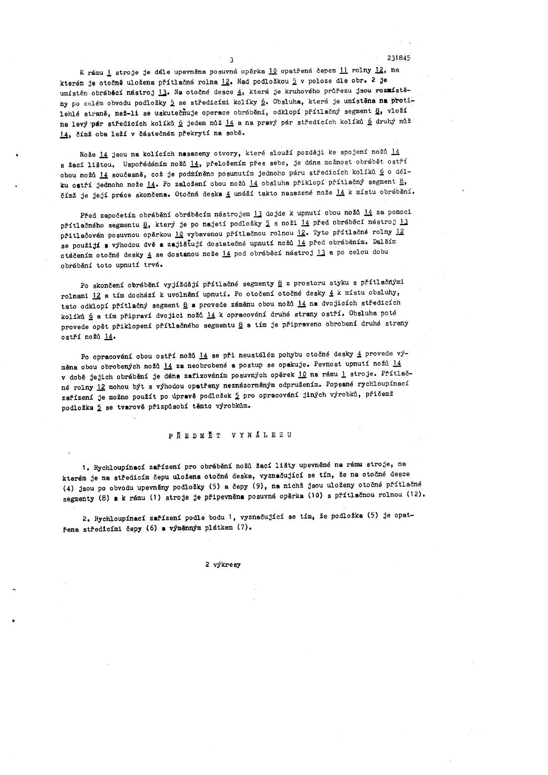 Rychloupinaci Zarizeni Pro Obrabeni Nozu Zaci Listy 15 06 1986