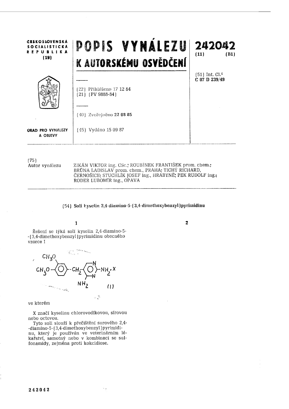 Soli kyselin 2,4-diamino-5-(3,4-dimethoxybenzyl)pyrimidinu