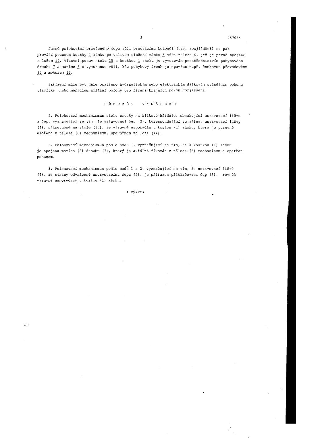 Polohovaci Mechanismus Stolu Brusky Na Klikove Hridele 15 04 1988