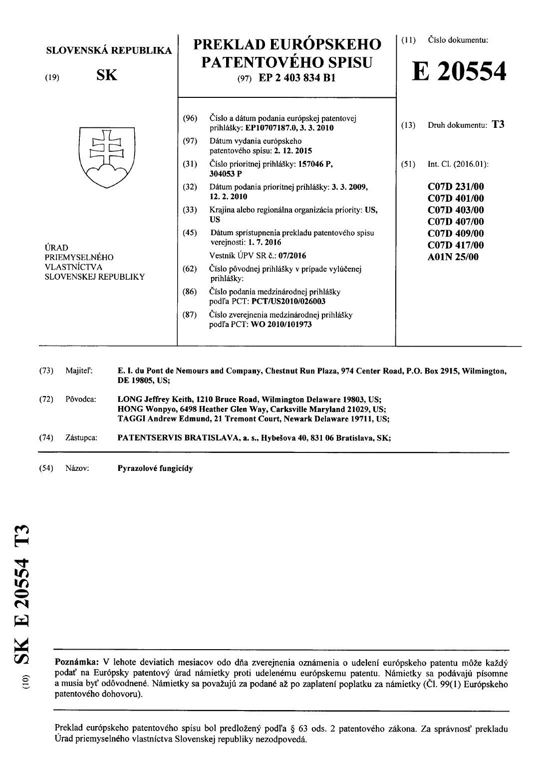 ... Číslo patentu  E 20554 ... a65788997f0