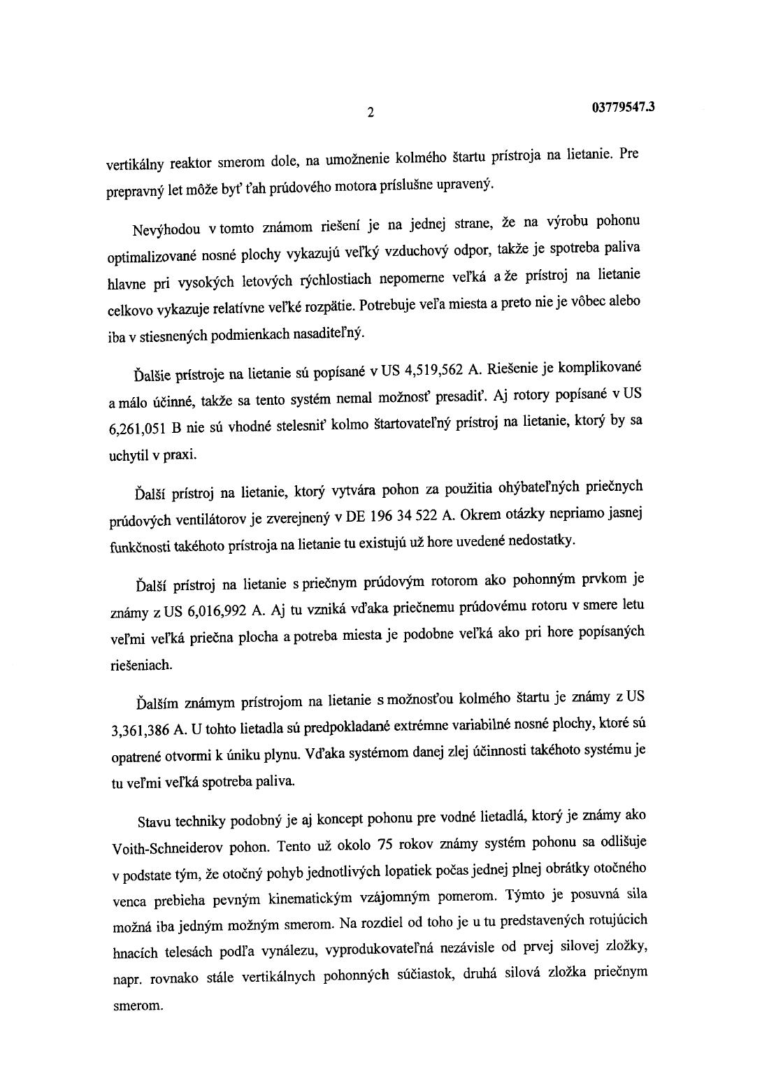 a0f1e7941b42 Prístroj na lietanie — 18.12.2003 — E 4450 — Databáza patentov Slovenska
