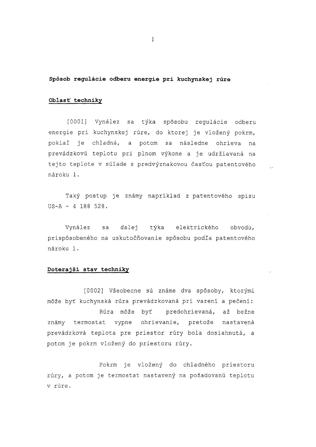 Sposob Regulacie Odberu Energie Pri Kuchynskej Rure 28 12 2002 E